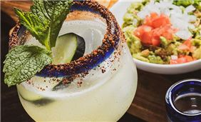 Refreshing Drink and Guacamole