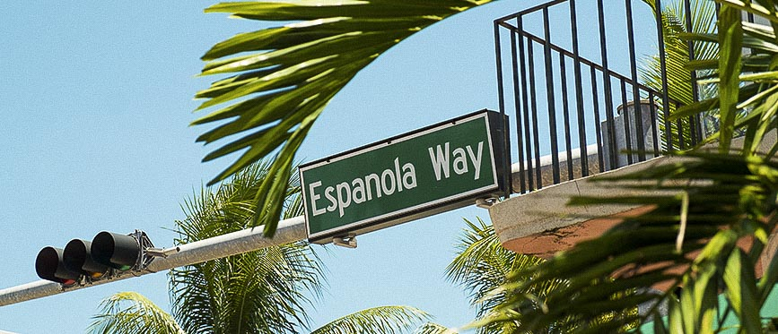 Location of Espanola Way, Miami